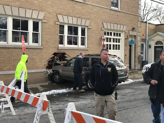 Rockaway Police Chief Conrad Pepperman at the scene of an accident in which a Jeep crashed through the side wall of the borough fire station on East Main Street. DEc. 11, 2017