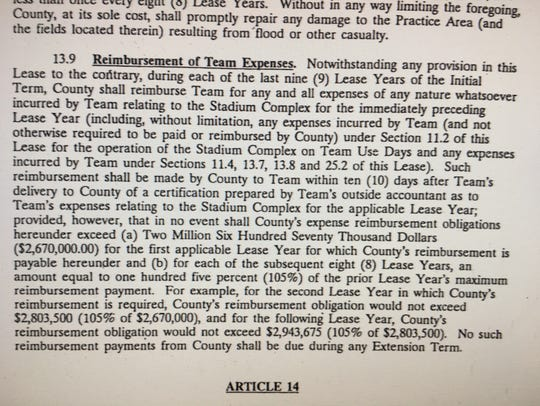 Screenshot of the provision in the contract that would