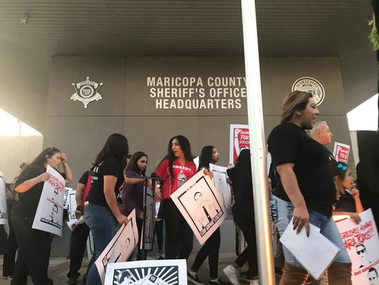Puente Arizona and supporters protest in front of the