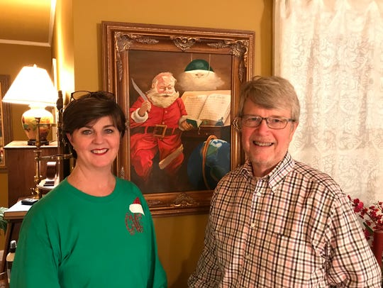 Cyndy and Buz McGuire of Macon start every Christmas holiday season by hanging a painting done by artist Bos Stevens of Starkville. It was a birthday gift from Buz to Cyndy 26 years ago.