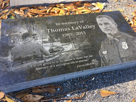 A memorial honors Thomas LaValley at Betty Virginia