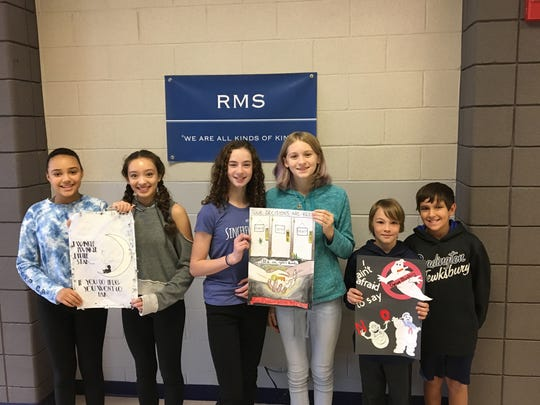 Pictured are poster contest winners Olivia Stapleton, Neela Bruen, Kay Mastropaolo, Ryan Mierzejwski, Connor Biehl, and Jake Beatrice.