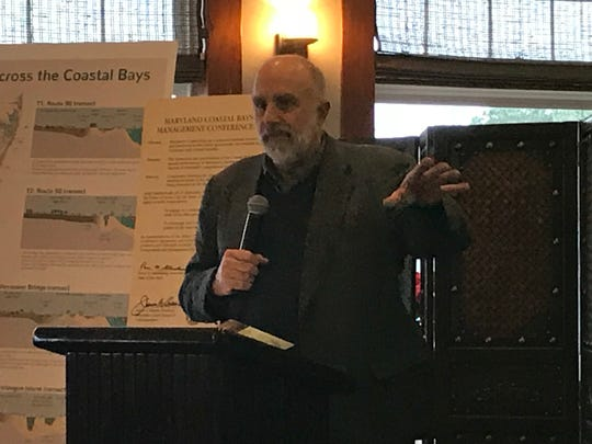 William Dennison, of the University of Maryland's Center for Environmental Science, speaks at the Maryland Coastal Bays Program's 2016 Report Card release on Dec. 12.