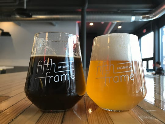 Pours of Parlance of our Times oatmeal stout and Kodacream cream ale at Fifth Frame Brewing in Rochester.