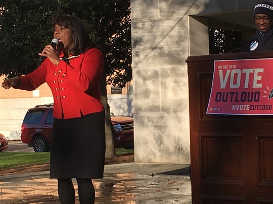 Rep. Terri Sewell, D-Ala., spoke Sunday at a get-out-the-vote rally hosted by the Alabama NAACP in Birmingham.