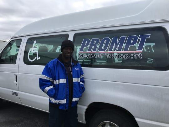 Joel Terrell, a Prompt wheelchair van driver, next