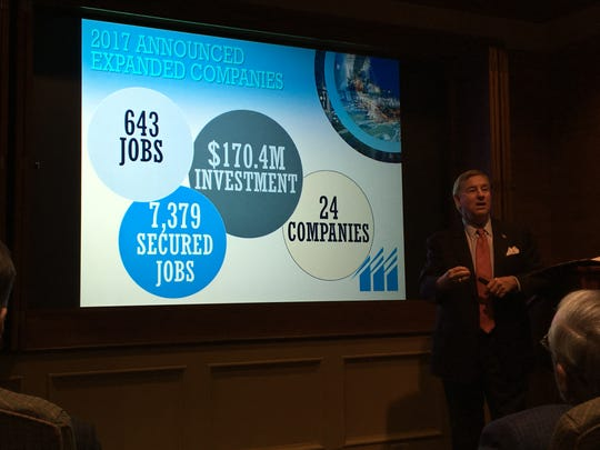 Montgomery Mayor Todd Strange talks about business expansions during an event Friday at the Montgomery Area Chamber of Commerce.