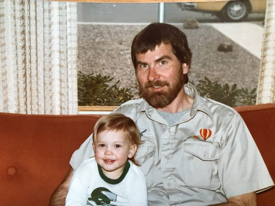 Al Morkunas wearing his hot air ballooning shirt with his niece Erin Mendenhall in 1982 on one of his cross-country Airstream trips.