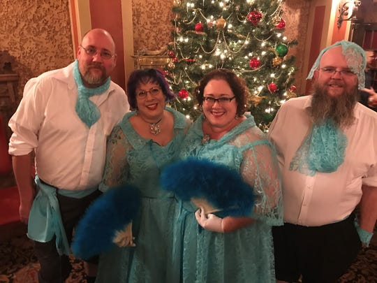 "From left: Gregg and Chandra Lewis-Qualls and Amy and Shedrick Pittman-Hassett in 2017 dressed as the Haynes sisters for the Saturday night showing of ""White Christmas"" at the Paramount Theatre. The Pittman-Hassetts are librarians from Denton. The movie returns to the downtown Abilene theater this weekend."