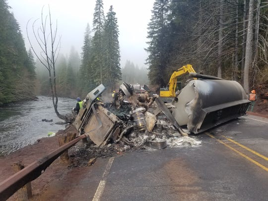 A semi-tanker crashed on Oregon 22 Friday night, killing the driver and spilling gasoline into the North Santiam River.