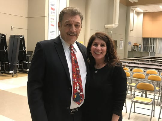 Superintendent of Schools Nicholas Perrapato and newly hired Assistant Superintendent of  Schools Anna Sciacca after the BOE meeting on Dec. 18.