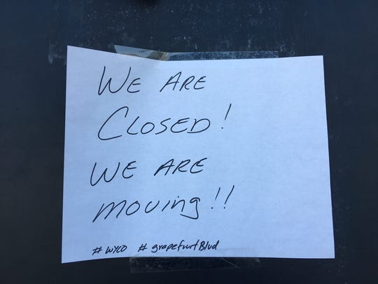 A sign on the door of MTC's previous location on Harrison Street in Coachella.