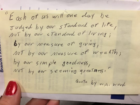 Mr. G recently dropped off his annual holiday donations of cash to be distributed to local organizations. He left this handwritten quote on one of the envelopes.