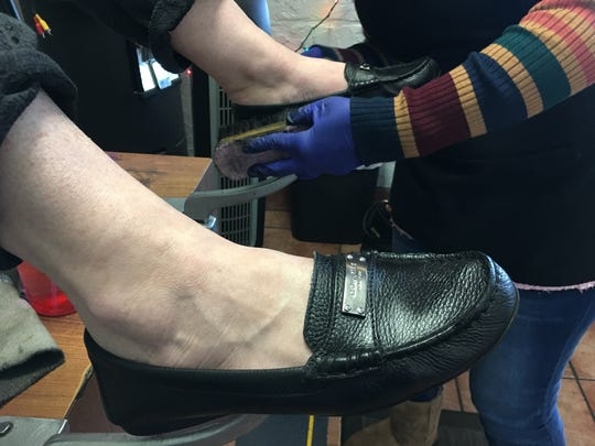 Norma Rivera has been offering shoe-shining services