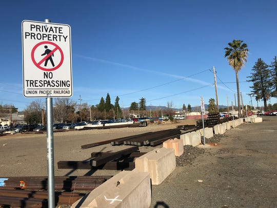 A parking lot outside the Redding train station off Yuba Street had long been used by those attending events at the Redding Veterans Memorial Hall across Yuba Street.