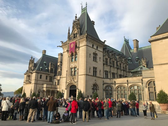Crowds wait outside Biltmore House in early November