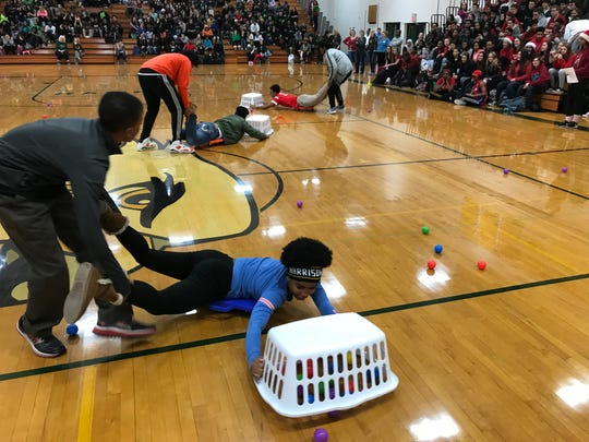 It was a human game of Hungry, Hungry Hippo. The seniors won.