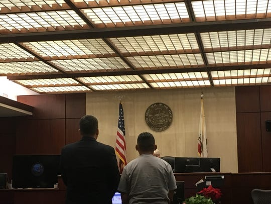 Oscar Rodriguez, right, appearing in an Indio courtroom