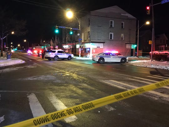 Rochester police secure the intersection of Genesee