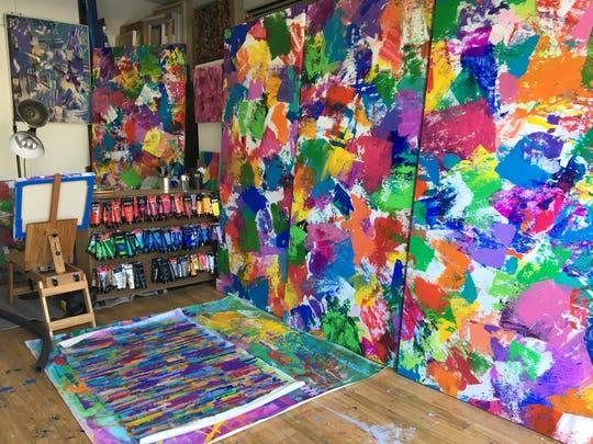 The garage Rancho Mirage artist Nicholas Kontaxis uses