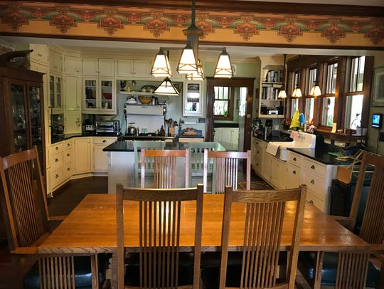 The kitchen opens up to the dining room in the Hearns'