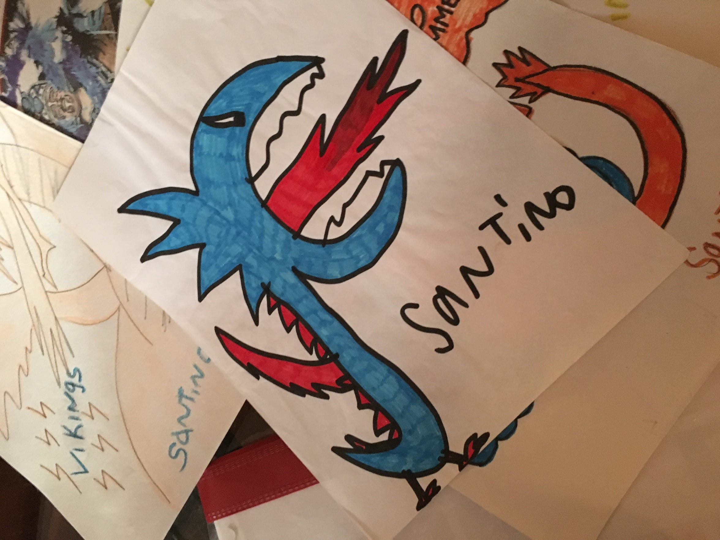 A dragon drawing by Santino Stagliano - a South Philly