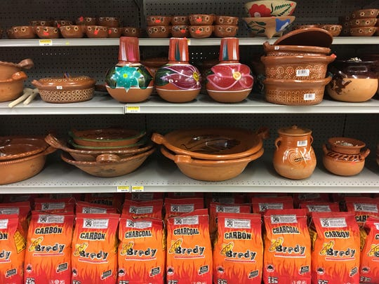 Decorative serving wares native to Mexico line the shelves of Carniceria Valdez in Ridgeland.