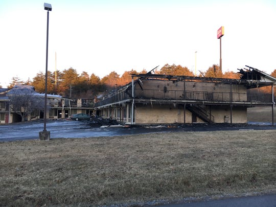 The remains of the Red Roof Inn along Sangers Lane near Staunton after a Friday, Dec. 29, 2017 fire.