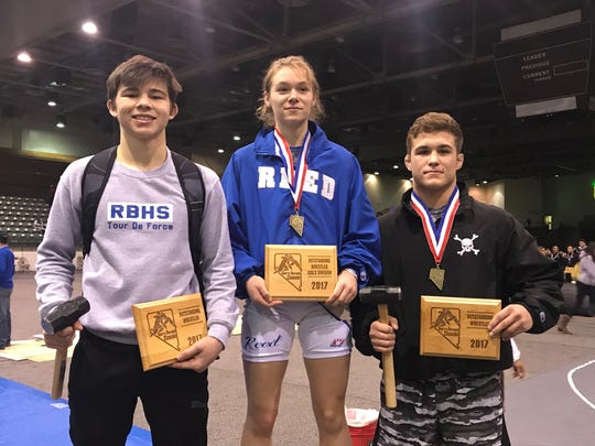 The outstanding wrestlers at the Sierra Nevada Classic:  Jaden Abas, Morgan Norris and Travis Wittlake.