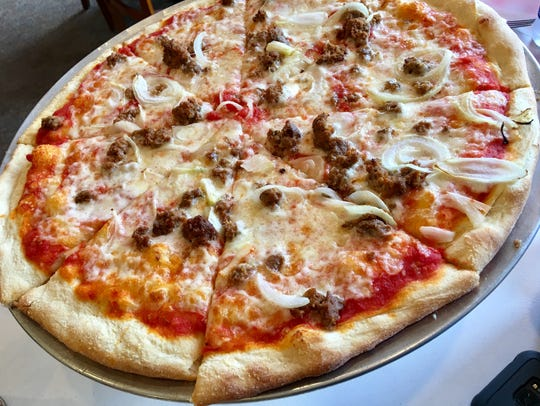 The meatball and onion pizza at Slices in Melbourne
