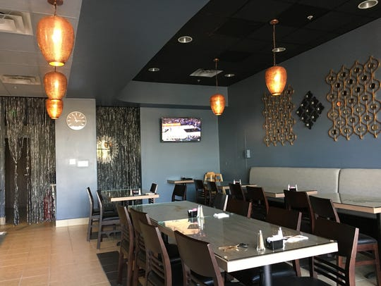 Metallic touches are part of the dining-room decor at Taste of Punjab Cuisine of India, which opened in Moorpark in October 2017.