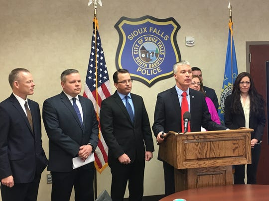 Attorney General Marty Jackley presents his legislative priorities to reporters in Sioux Falls Wednesday, January 3.