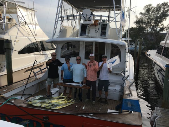 Peter Roman of Pittsburgh, mate Matt Driscoll, Capt. Glenn Cameron, Crispin Smith of Jensen Beach, and mate J.J. Davidson, aboard Floridian charters at Sailfish Marina in Stuart, caught and released five sailfish Dec. 18, 2017 and saw a huge great white shark.