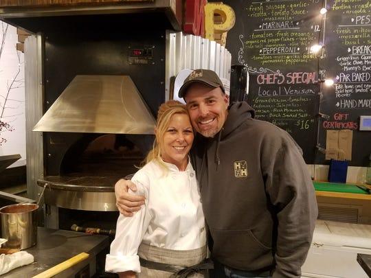 Chef Megan Jones-Holt and Board Member Mark Charbonneau at last year's Stockton Market.