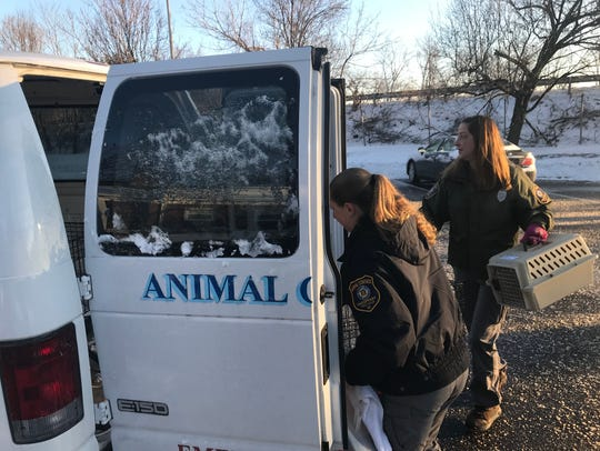 Parsippany Animal Control Officer Heidi Mooney, left,