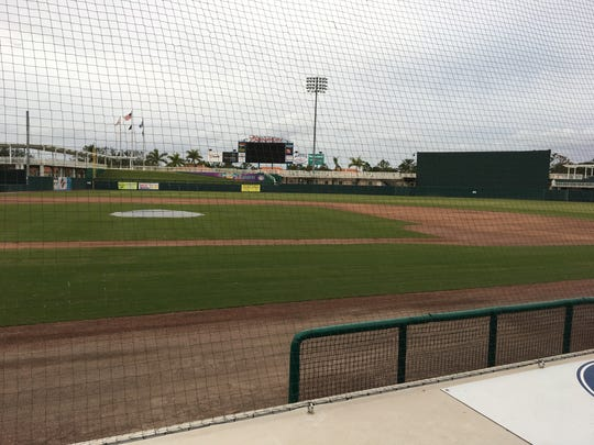 New netting along the first-base dugout at Hammond Stadium.