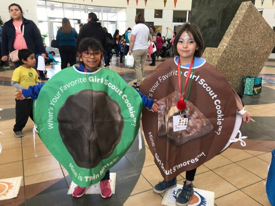 Brownies Camry Hogue, 7, and Abby Misicka, 7, are excited about cookie season starting Jan. 13.