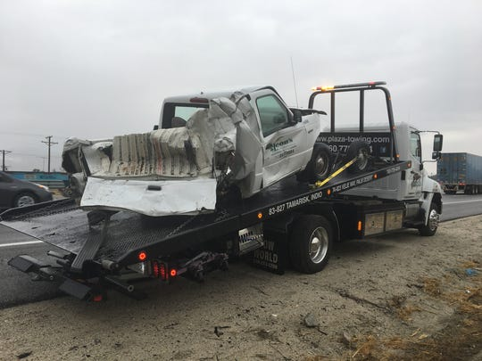 A big rig collided with a pickup on Interstate 10 Tuesday. The big rig's driver said rain played a role in the collision, but California Highway Patrol investigators say driver error was a bigger factor.