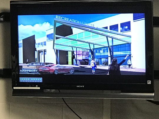 An artist's rendering of what an entrance into the recreation center could look like.