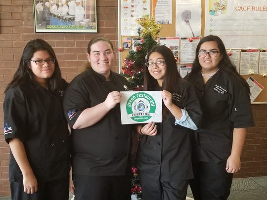 """MCVTS Piscataway Campus culinary students who worked to achieve """"green"""" restaurant status included, from left, Lizeth Lopez, Brielle Grandell, Anahi Mendez and Yisel Hernandez."""