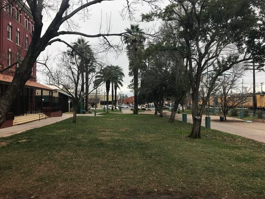 Carnegie Park in downtown Redding stood empty Wednesday