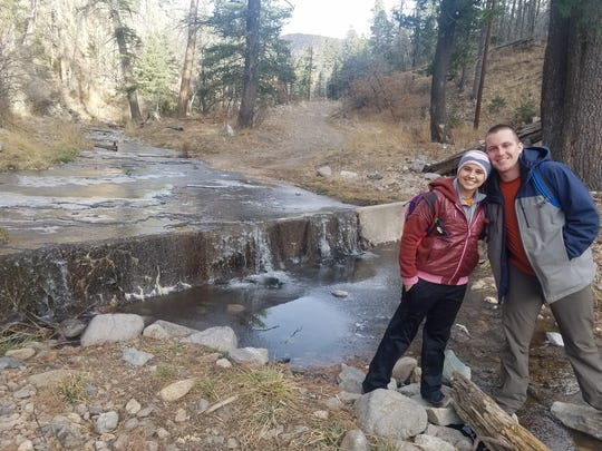 Camp and Allyson Dozier celebrated their fourth wedding anniversary by hiking with Camp's father Rich Dozier on Miner's Road Trail.