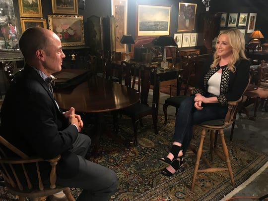 """Jamie Colby, right, host of the Fox Business Network Show, """"Strange Inheritance,"""" interviews Bloomfield-based auctioneer John Nye for an episode airing on Monday, Jan. 15. It details a Bloomfield family's finding a Rembrandt in their basement."""