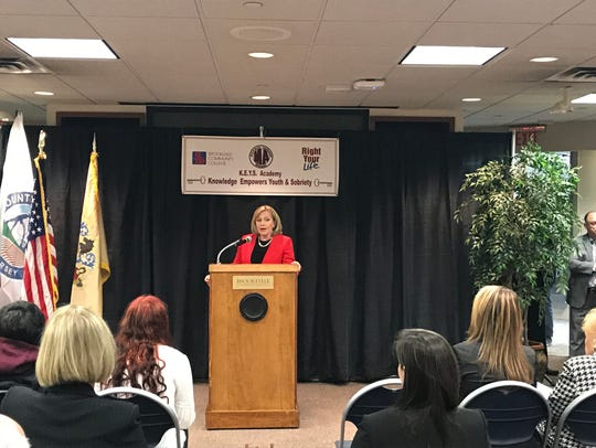Lt. Gov. Kim Guadagno speaks Thursday at the launch