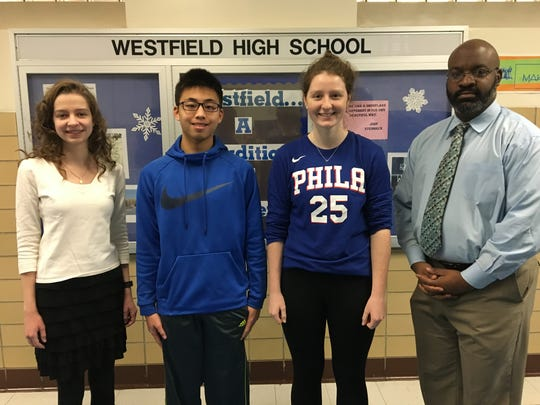 "Westfield High School Principal, Derrick Nelson (far right), congratulated the students on Jan.9 citing their outstanding achievement on the tests which are widely used for college admission criteria.  ""It speaks volumes about your abilities and your commitment to your education,"" stated Dr. Nelson, (pictured far right). The recent top scorers include 11th graders (l-r) Julia Hollosi – ACT Science and STEM, Kevin Li – SAT Math, and Jenna Miller – ACT English."