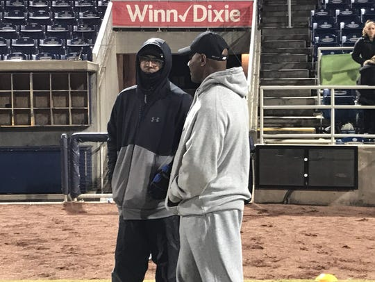 Charlie Ward and Derrick Brooks together Friday watching