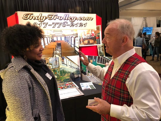 Jack Carr Boyd, owner of Indy Trolley, gives Ashley