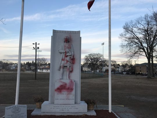 A Christopher Columbus statue in Garfield that was