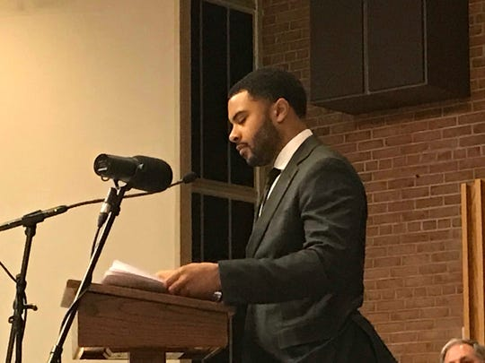 Malcolm Jamaal Carter, actor, gave an impassioned rendition of King's I Have a Dream Speech at the 2018 birthday celebration of Dr. King at the Paramus Central Unitarian Church Monday night.