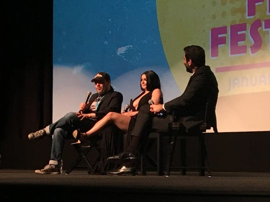 """Director Adam Rifkin and actress Ariel Winter discuss their movie  """"The Last Movie Star"""" during a Q and A after a screening on Jan. 14, 2018 part of Palm Springs International Film Festival Closing Night."""